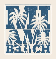 Miami beach tee design with palms vector