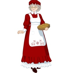 Mrs Santa Claus Mother Christmas character vector image