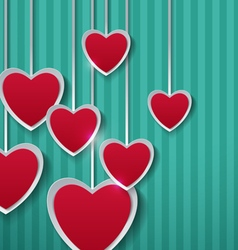 Paper Hearts on Turquoise Background vector image