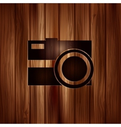 Photo camera icon photography wooden texture vector