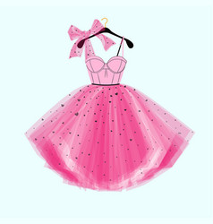 Pink party prom dress with bow vector
