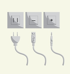 Plug usb port sound in-out vector