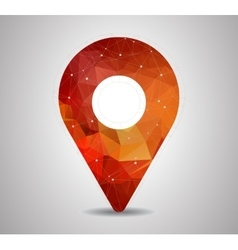 Polygon pin with map icon vector