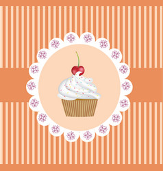 retro cupcake background vector image vector image