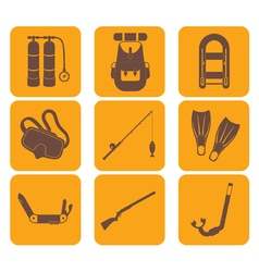 Set of tourism equipment icons vector image vector image