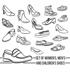 Set women men and children s shoes painted vector