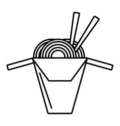 spaghetti with chopsticks isolated icon vector image vector image