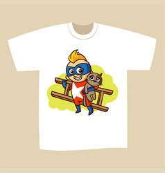 t-shirt print design superhero vector image