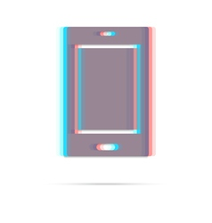 Tablet anagliph icon with shadow vector image