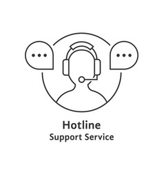 thin line hotline icon vector image vector image