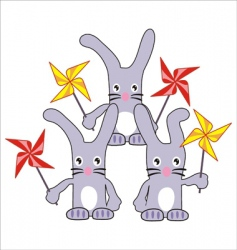 three rabbits hares with spinners vector image vector image