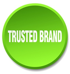 trusted brand green round flat isolated push vector image