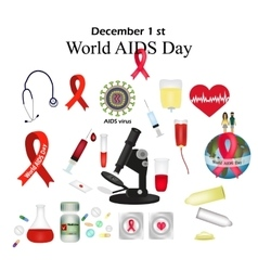 Set - world aids day protect yourself from aids vector