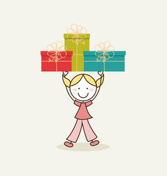 girl holding a gift boxes vector image