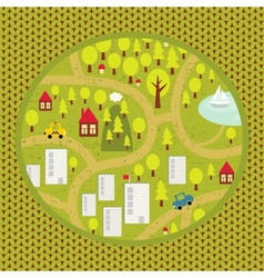 Cartoon map pattern of small town and countryside vector