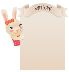 Happy easter bunny girl looking at blank poster vector