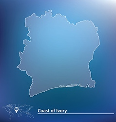 Map of coast of ivory vector
