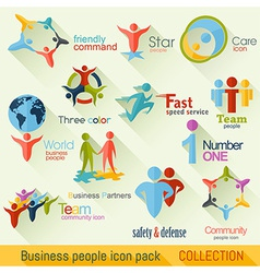 Flat business people logo collection vector