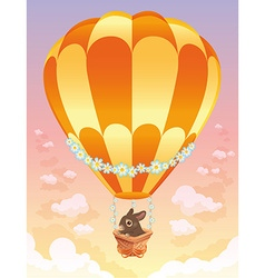 Hot air balloon with brown bunny vector