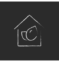 Eco-friendly house icon drawn in chalk vector