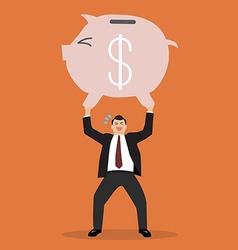 businessman lifting a piggy bank vector image