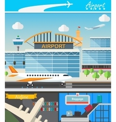 Airport building and travel concept vector