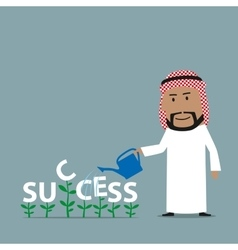 Arabian businessman grows a success vector