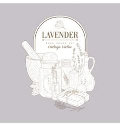 Vintage Sketch With Lavender Products Set vector image