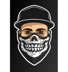 A guy in a baseball cap and a bandana vector