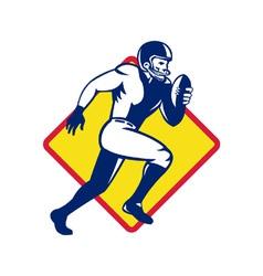 American quarterback football player running vector