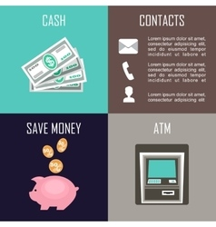 Banking set icons vector