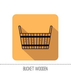 Bucket wooden flat icon object of barrel vector