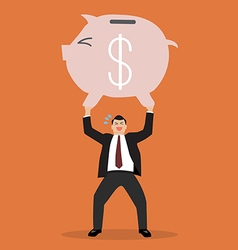 Businessman lifting a piggy bank vector