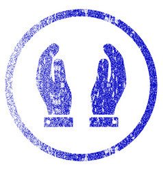 Care hands grunge textured icon vector