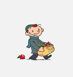 child with large basket of apples vector image vector image