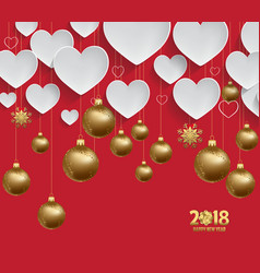 Christmas 2018 heart background with christmas vector