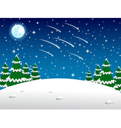 Christmas background in night meteor vector