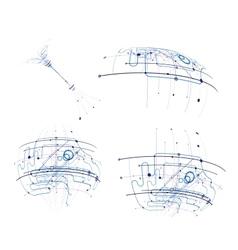 Circuit abstract set vector image