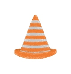 drawing traffic cone caution sign vector image