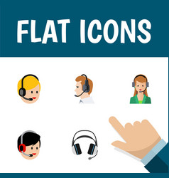 flat icon hotline set of telemarketing secretary vector image