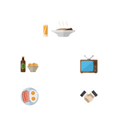 Flat icon life set of fried egg beer with chips vector
