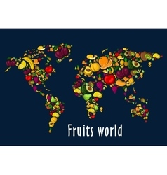 Fruits world map placard background vector