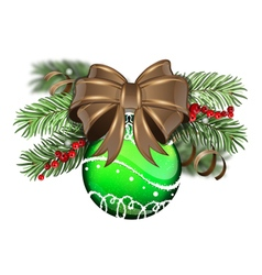 Green Christmas ball with brown bow vector image