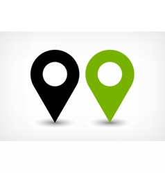 Green map pins sign icon in flat style vector