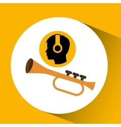 Head silhouette listening music trumpet vector