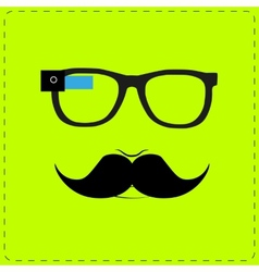 Hipster wearing smart glasses vector image vector image