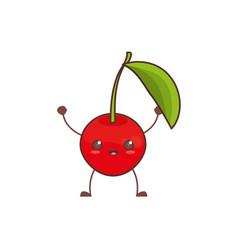 Kawaii cherry fruit image vector