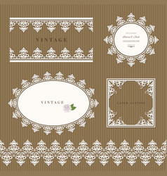 lace decorative frame and border set lacy doilies vector image