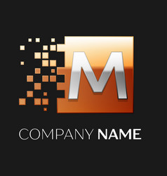 letter m logo symbol in the colorful square vector image