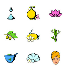 Massage icons set cartoon style vector